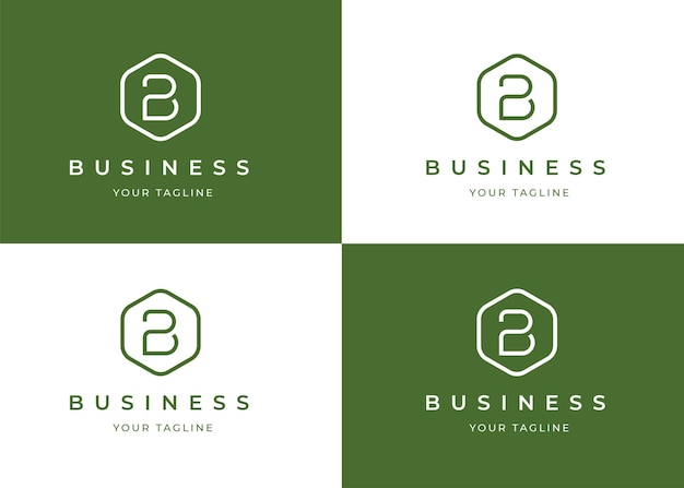 Minimalistyczny szablon projektu logo litera b o geometrycznym kształcie