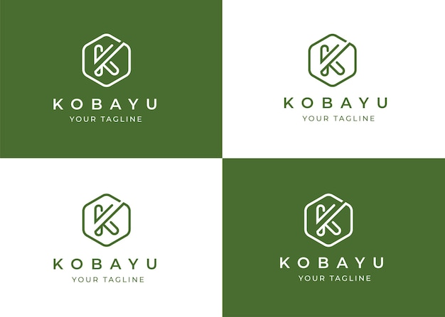 Minimalistyczny szablon projektu logo litera k o geometrycznym kształcie