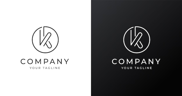 Minimalistyczny szablon projektu logo litera k w stylu kształtu koła