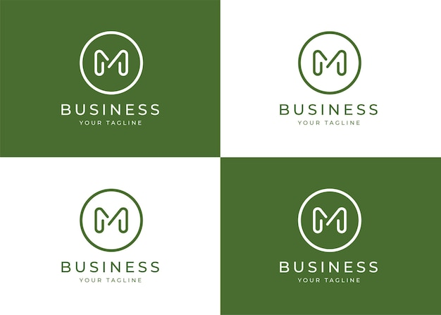 Minimalistyczny szablon projektu logo litera m w kształcie koła