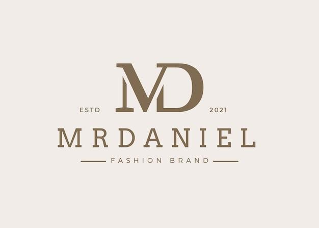 Minimalistyczny szablon projektu logo litery md, ilustracje wektorowe