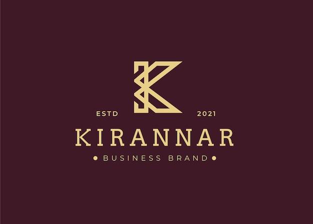Minimalistyczny szablon projektu logo litery początkowej k, ilustracje wektorowe