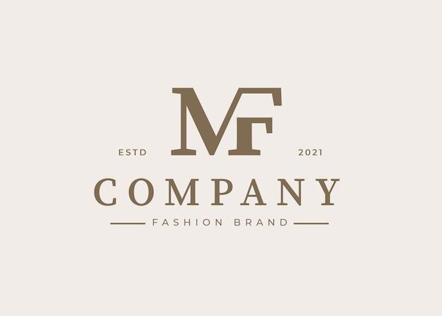 Minimalistyczny szablon projektu logo litery początkowej mf, ilustracje wektorowe