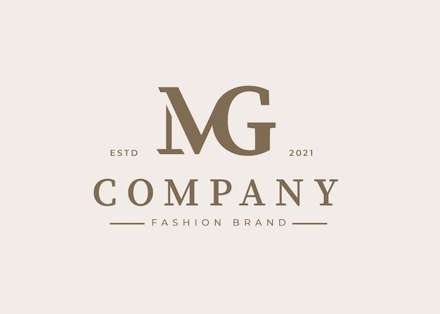 Minimalistyczny szablon projektu logo litery początkowej mg, ilustracje wektorowe