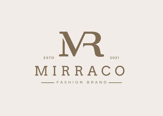 Minimalistyczny szablon projektu logo litery początkowej mr, ilustracje wektorowe