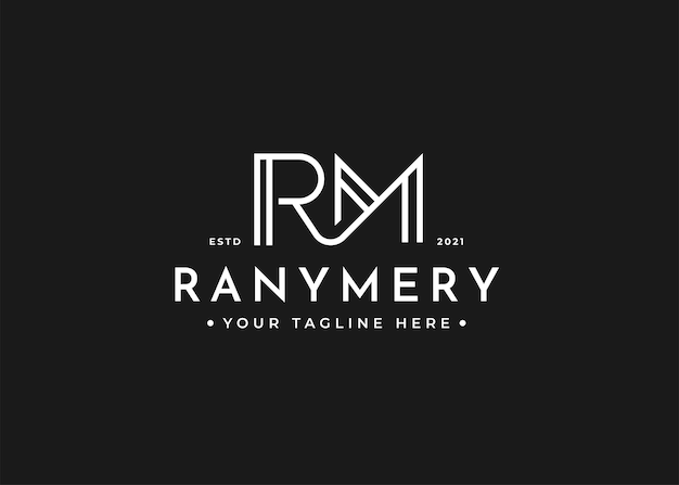 Minimalistyczny szablon projektu logo litery rm