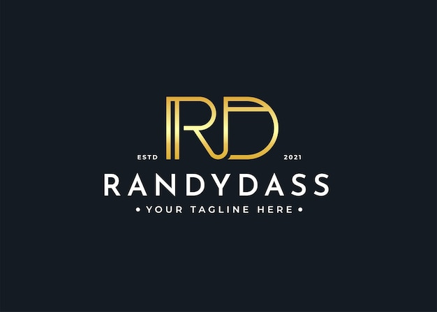 Minimalistyczny szablon projektu logo luksusowego listu rd