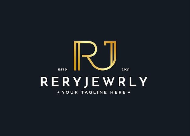 Minimalistyczny szablon projektu logo luksusowego listu rj