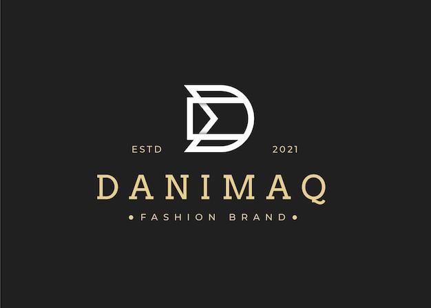 Minimalistyczny szablon projektu logo początkowego listu dm, ilustracje wektorowe