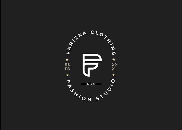 Minimalistyczny szablon projektu logo początkowej litery f, styl vintage, ilustracje wektorowe