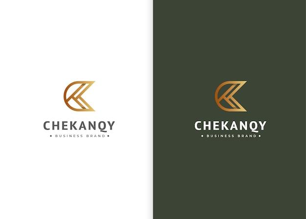 Minimalistyczny szablon projektu luksusowego logo litery kc