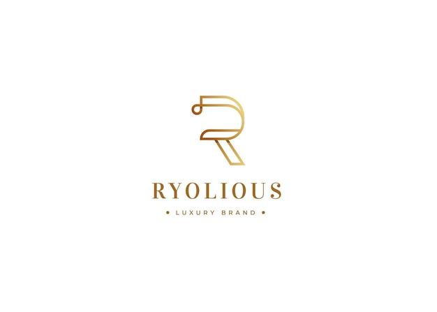 Minimalistyczny szablon projektu luksusowego logo litery r