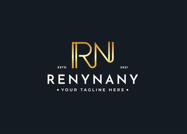 Minimalistyczny szablon projektu luksusowego logo litery rn