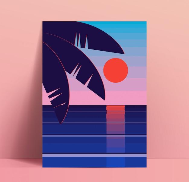 Minimalistyczny szablon projektu plakat lato z czerwonym słońcem zachód słońca nad morzem lub oceanem z liśćmi palmy w rogu. makieta tabliczki. ilustracja