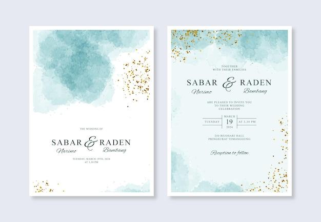 Minimalistyczny szablon zaproszenia ślubne z akwarelą i brokatem