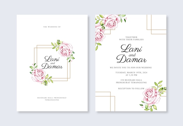 Minimalistyczny szablon zaproszenia ślubne z kwiatową akwarelą