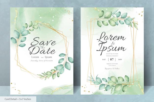 Minimalistyczny szablon zaproszenia ślubne z kwiatowym akwarelą
