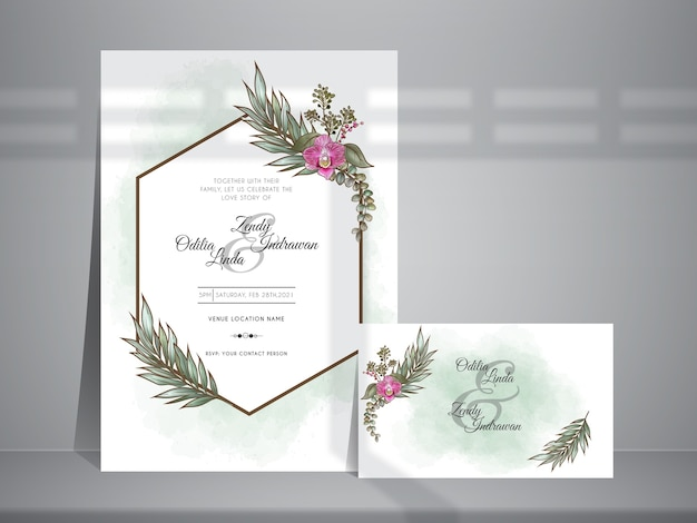 Minimalistyczny szablon zaproszenia ślubne z pięknym kwiatowym wzorem