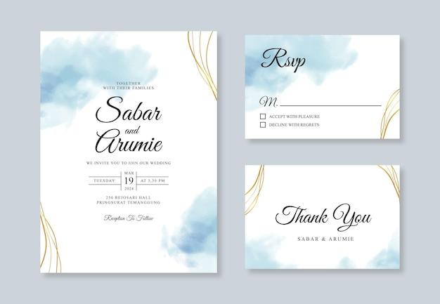 Minimalistyczny szablon zaproszenia ślubne z plamą akwareli