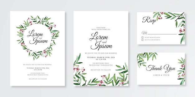 Minimalistyczny szablon zaproszenia ślubne z ręcznie malowanymi akwarelami kwiatowymi