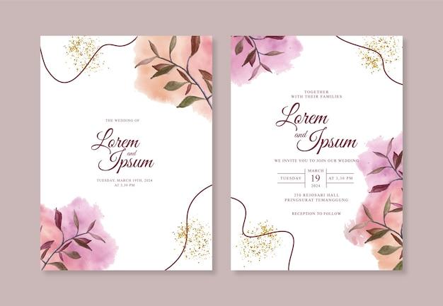 Minimalistyczny szablon zaproszenia ślubne z ręcznie malowanymi pędzlami akwarelowymi i linią