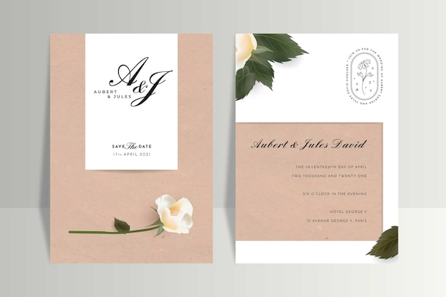 Minimalistyczny szablon zaproszenia ślubne