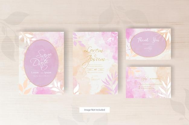 Minimalistyczny szablon zaproszenia ślubnego w aranżacji kwiatowej z abstrakcyjną akwarelą
