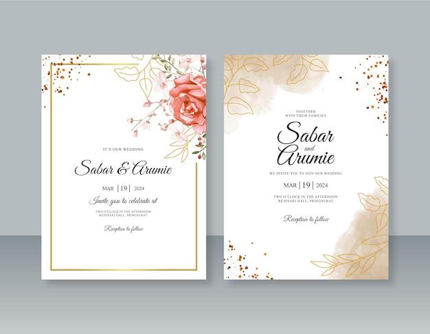 Minimalistyczny szablon zaproszenia ślubnego z akwarelą