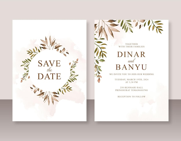 Minimalistyczny szablon zaproszenia ślubnego z akwarelowymi liśćmi