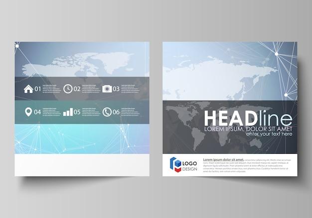 Minimalistyczny układ ilustracji dwóch kwadratowych formatów obejmuje szablony broszury, ulotki, broszury. tekstura wielokąta. globalne połączenia, futurystyczny geometryczny.