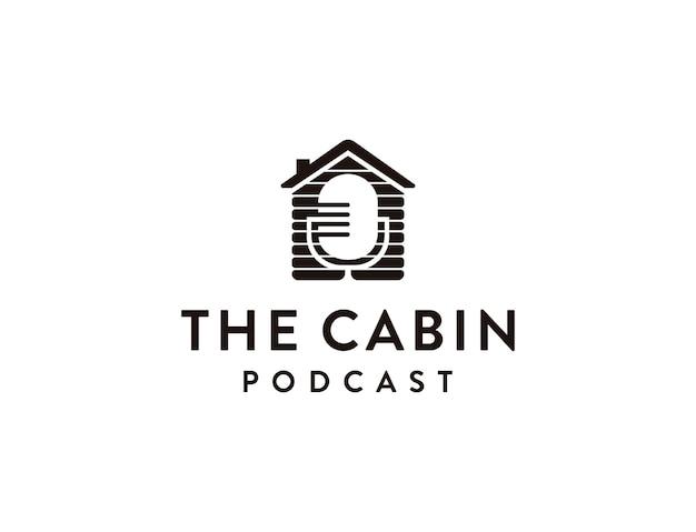 Minimalistyczny wektor logo podcastu kabiny mikrofonu