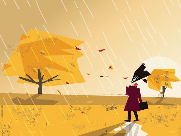Minimalistyczny wizerunek z grunge teksturą w jesień krajobrazu scenie