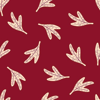 Minimalistyczny wzór doodle bez szwu z kształtami białych liści.