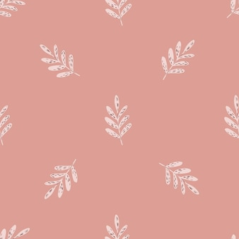 Minimalistyczny wzór przetargu z ornamentem oddziałów. różowe odcienie tła. płaski nadruk wektorowy na tekstylia, tkaniny, opakowania na prezenty, tapety. niekończąca się ilustracja.