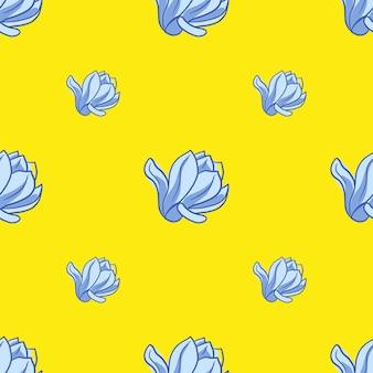 Minimalistyczny wzór z jasnym niebieskim ornamentem kwiatów magnolii. żółte tło. ilustracja wektorowa do sezonowych wydruków tekstylnych, tkanin, banerów, teł i tapet.