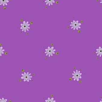 Minimalistyczny wzór z prostym stylem druk sylwetki mały kwiat. pastelowe fioletowe tło. płaski nadruk wektorowy na tekstylia, tkaniny, opakowania na prezenty, tapety. niekończąca się ilustracja.