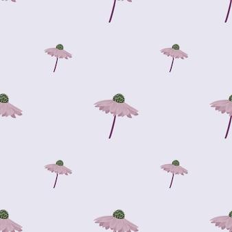 Minimalistyczny wzór z sylwetkami kwiatów doodle gerbera. jasnoniebieskie tło. ilustracja wektorowa do sezonowych wydruków tekstylnych, tkanin, banerów, teł i tapet.