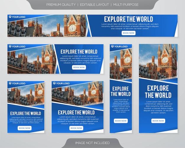Minimalistyczny zestaw banner podróży i szablon zestawu promocyjnego