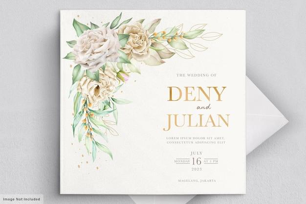 Minimalistyczny zestaw kart ślubnych z białymi różami