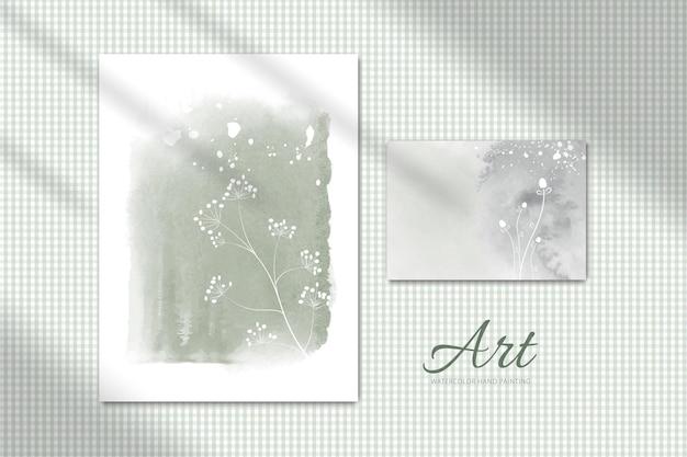 Minimalistyczny zestaw kreatywnych ręcznie malowanych ilustracji akwarela. prezentowany na ścianie z przechodzącym kloszem, idealny do projektowania ściany