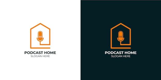 Minimalistyczny zestaw logo domowego podcastu
