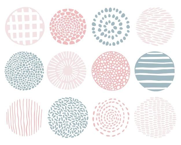 Minimalistyczny zestaw okrągłych wzorów.