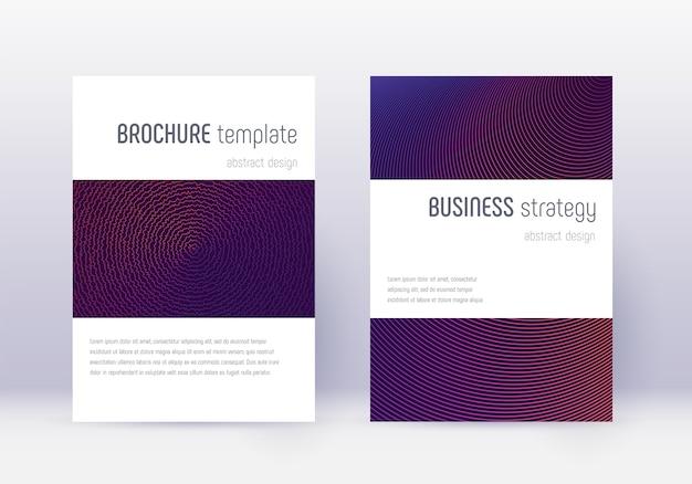 Minimalistyczny zestaw szablonów projektu okładki. fioletowe linie abstrakcyjne