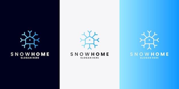 Minimalizm śnieg z wektorem projektu logo kombinacji domowej