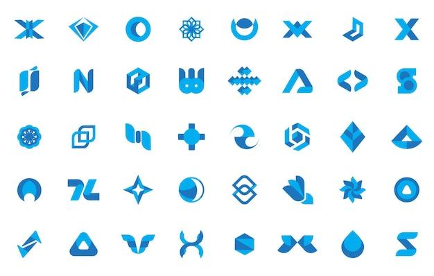 Minimalna abstrakcyjna kolekcja niebieskiego logo ilustracja wektorowa