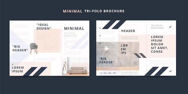 Minimalna broszura składana na trzy części, idealna konstrukcja