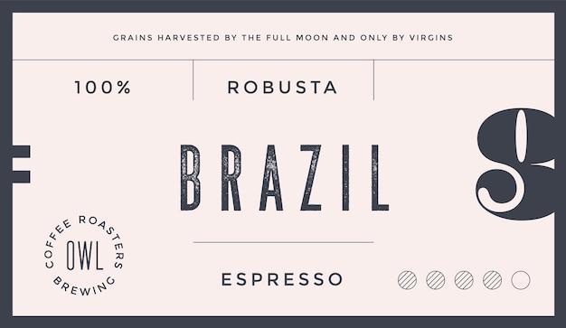 Minimalna etykieta. typograficzna nowoczesna etykieta vintage, dla marki kawy, pakowania kawy