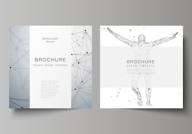 Minimalna ilustracja edytowalnego układu dwóch kwadratowych formatów obejmuje szablony projektów broszur, ulotek, czasopism.