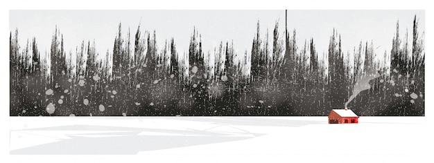 Minimalna ilustracja krajobraz wsi w zimie