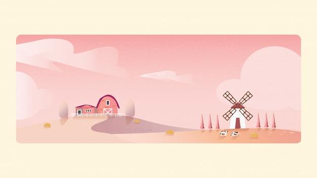 Minimalna ilustracja krajobrazu wsi jesienią, ekologiczna hodowla bydła